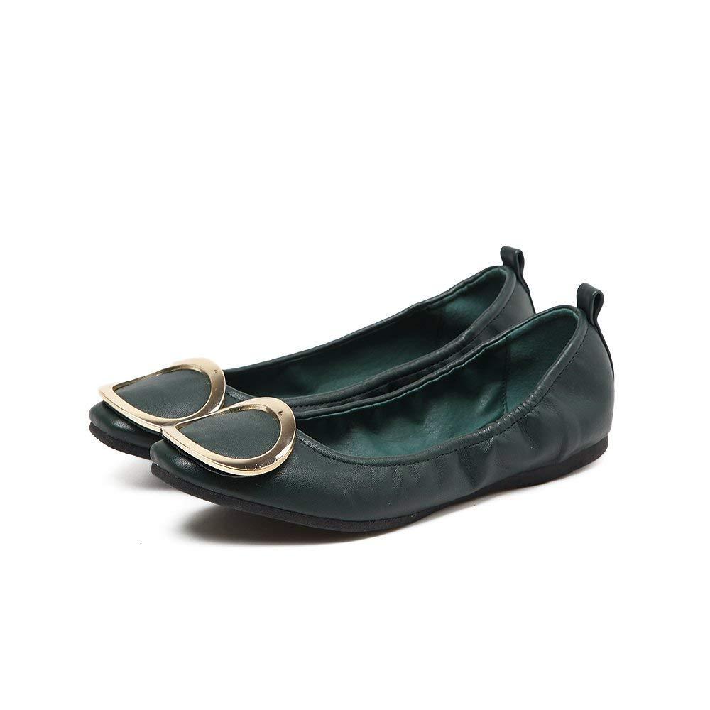 Eeayyygch Gericht Schuhe Frühlingsrollen Einzelne Schuhe Flach mit flachem Mund Runde Flache Schuhe Runde Schnalle Vier Schuhe Wild Schuhe, 38, Grün (Farbe : -, Größe : -)