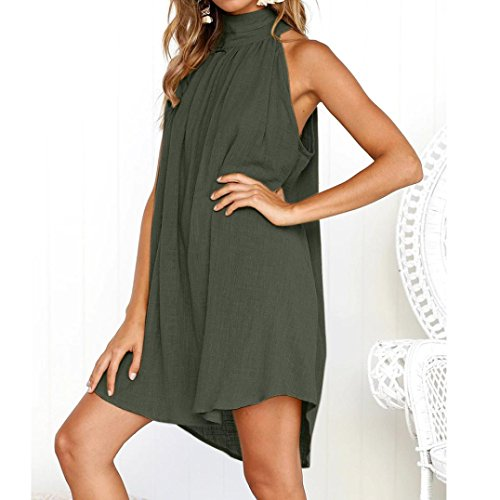 Sexy volant Base Jupe Casual Ligne A Lin Plage Mini Femme Unique Vert Robe t Party SANFASHION EaqUTT