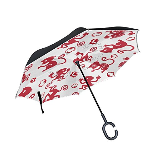 THENAHOME Reverse Inverted Auto Open Umbrella Compact Lightweight Straight Umbrellas with Creative Red Monkey Peach for Car & Outdoor
