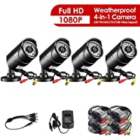 ZOSI 4 Pack 2.0 Megapixel HD 1080P 4 in 1 TVI/CVI/AHD/CVBS Security Cameras Day Night Waterproof Camera 100ft IR Distance, Aluminum Metal Housing, Compatible for HD-TVI, AHD, CVI, and CVBS/960H analog