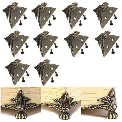 VintageBee 10 PCS Antique Brass Wood Case Jewelry Chest Storage Box Feet Leg Corner ()