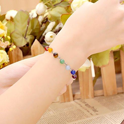 JOVIVI 7 Chakras Gemstone Bracelet Crystal Reiki Healing Balancing- Pack of 2pc