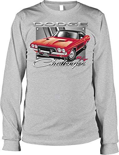 (Hoodteez Dodge Challenger R/T, American Muscle Men's Long Sleeve Shirt, XL LtGray)