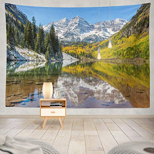 KJONG Maroon Bells and Lake Wide Angle Autumn Snow Decorative Tapestry,60X80 Inches Wall Hanging Tapestry for Bedroom Living Room ()