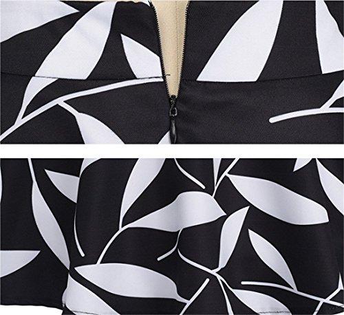 Imprime avec Audrey Hepburn Vintage fleur Noir Taille zipp Bal Haute YOGLY 1950s Jupe de xFwq4qBZa