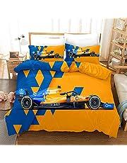 Dekbedovertrek Set 3 Stuk Racing auto, formule F1 Print Dekbedovertrek Beddengoed Set Zachte Comfortabele Polyester met Ritssluiting en 2 kussenslopen, voor Kids volwassen tieners