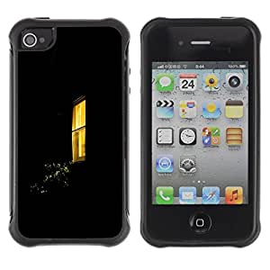 LASTONE PHONE CASE / Suave Silicona Caso Carcasa de Caucho Funda para Apple Iphone 4 / 4S / Window Yellow Black Home