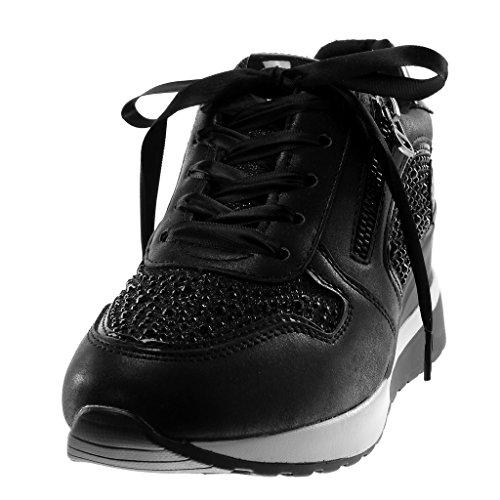 Angkorly Women's Fashion Shoes Trainers Wedge - Sporty Chic - Tennis - Platform - Rhinestone - Satin Lace - Zip Wedge Platform 5 cm Black srr8U0tFW7
