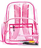 NEW! Quality Clear Backpack Pink, Heavy Duty Transparent, See-Through, Large (Pink and Fuchsia)