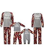 Merry Christmas Pajama for Family Buffalo Plaid Sleep Shirt and Pants Parent-Child Holiday Sleepwear for Kids, Men, Women