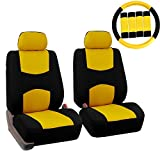 yellow and black car seat covers - FH GROUP FH-FB050102 Pair Set Flat Cloth Car Seat Covers W. FH2033 Steering Wheel Cover & Seat Belt Pads, Yellow / Black- Fit Most Car, Truck, Suv, or Van