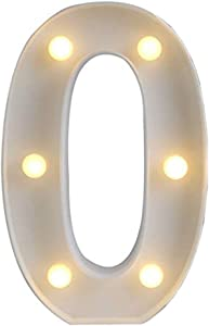 Amzure LED Number Lights Sign 0 Light Up Sign Perfect for Events or Home Décor Night Light Wedding Birthday Party Battery Powered Lamp Bar Decoration