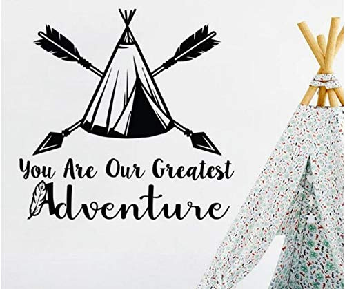 ponana Nursery Bedroom Decor Arrow Wigwam Vinyl Wall Sticker You are Our Greatest Adventure Quote Wall Mural Arrow Design Decal 57X56Cm