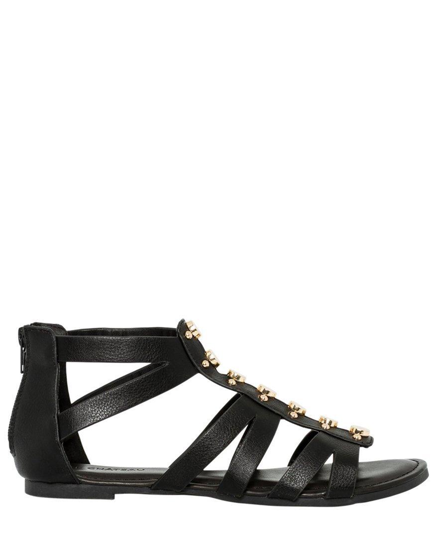 LE CHÂTEAU Women's Studded Gladiator Sandal,9,Black
