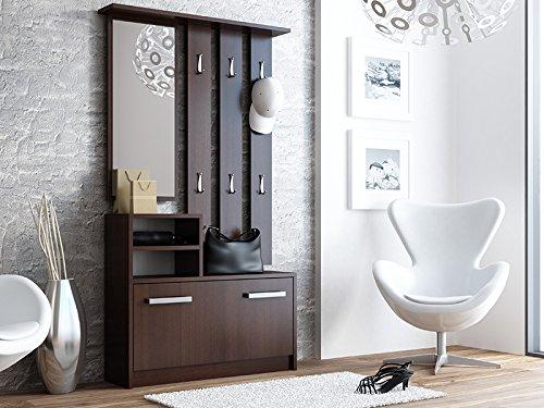 Garderoben-Set 3-teilig Garderobenschrank Garderobenpaneel Schuhschrank Schuhkipper Schuhkommode Spiegel Kleiderhaken Diele Flur Möbel (Wenge)
