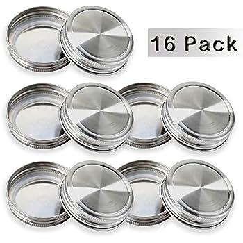 Wang-Data 304 Stainless Steel Mason Jar Lids,16 Pack Mason Jar Storage Caps with Silicone Seals for Regular Mouth Canning Mason Ball Jars