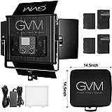 GVM LED Video Light 672S CRI97+ TLCI97 Dimmable Bi-color 3200K-5600K Panel Light For Outdoor Interview Studio Portrait Photography Lighting(Light+ 2 Batteries)