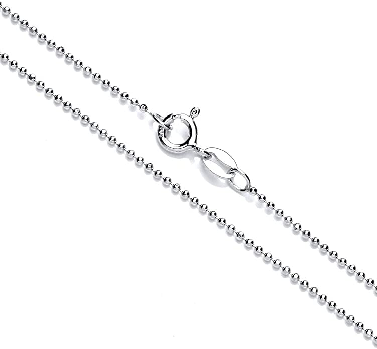 1.2mm Round Bead Chain Necklace Anklet in 925 Sterling Silver 7-36 Bracelet