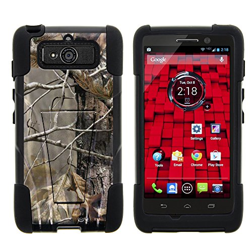 DROID Mini Case, Full Body Fusion STRIKE Impact Kickstand Case with Exclusive Illustrations for Motorola DROID Mini XT1030 (Verizon) from MINITURTLE | Includes Clear Screen Protector and Stylus Pen - Fallen Leaves Camouflage