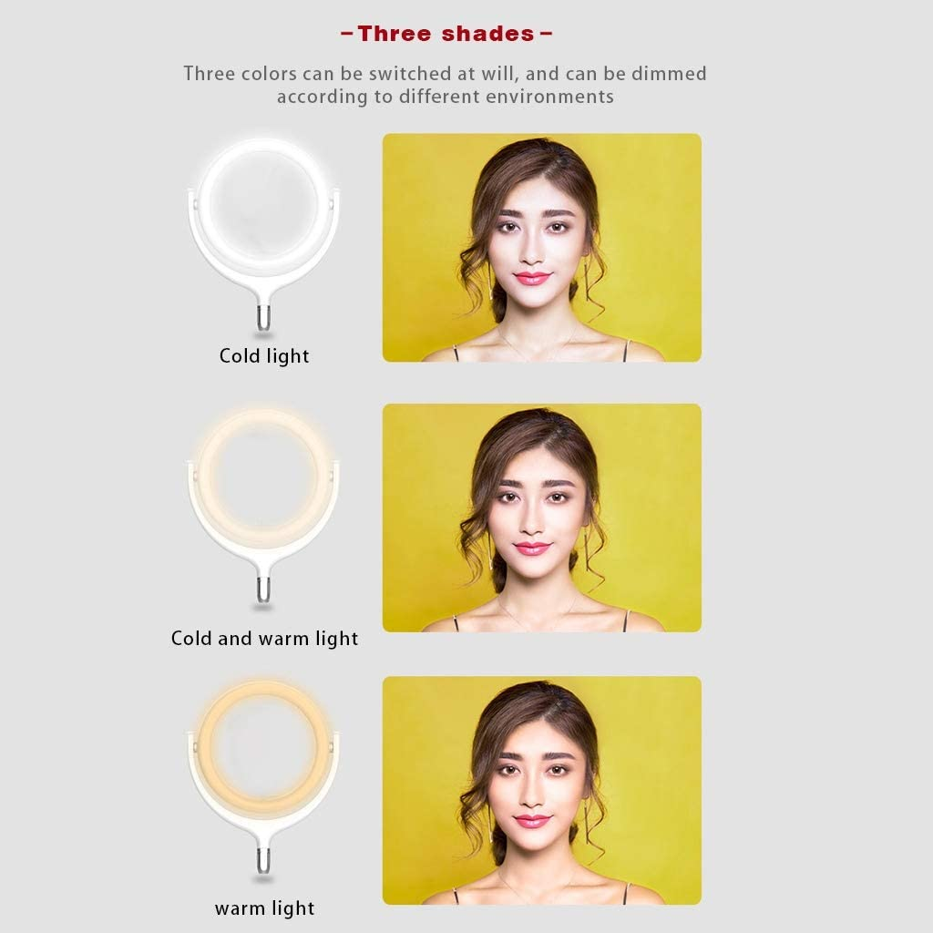 Color : White JIAX LED Selfie Ring Light 96 LED Lamp Beads for Live Stream//Makeup//YouTube Video Dimmable Beauty Ringlight with Tripod Stand Color Temperature 3300K-6000K