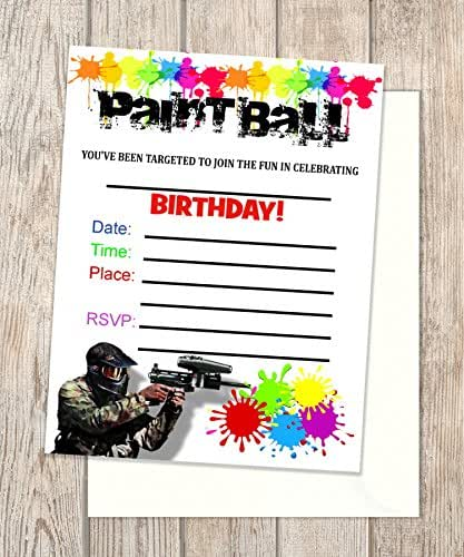 Amazon.com: Paint Ball Fill In Blank Invitations, Flat