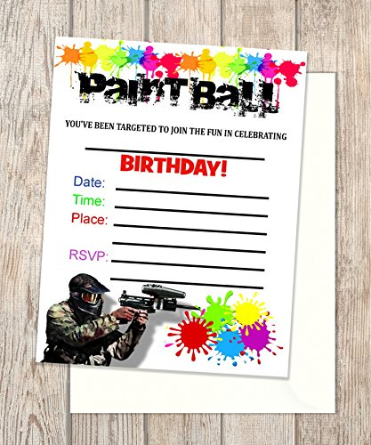 amazon com paint ball fill in blank invitations flat cards set of