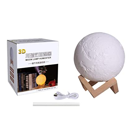Eesxin 880ml Air Humidifier 3d Moon Lamp Light Diffuser Aroma Essential Oil Usb Purifier With Yellow Amazon In Home Kitchen
