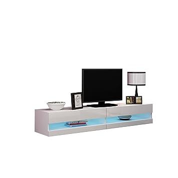 Mirjan24 TV Lowboard Vigo New 180 cm, TV Tische, TV Schrank,  Fernsehschrank, Hängeschrank, Hochglanz (mit Blauer LED Beleuchtung,  Weiß/Weiß ...