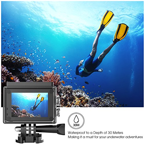 51WctbizKTL - DBPOWER 4K Action Camera 12MP Ultra HD Waterproof Sports Cam with Built-in WiFi 170 Degree Wide Angle Lens 2 Inch LCD Screen Plus 1050mAh Rechargeable Battery (Camera+Accessories)