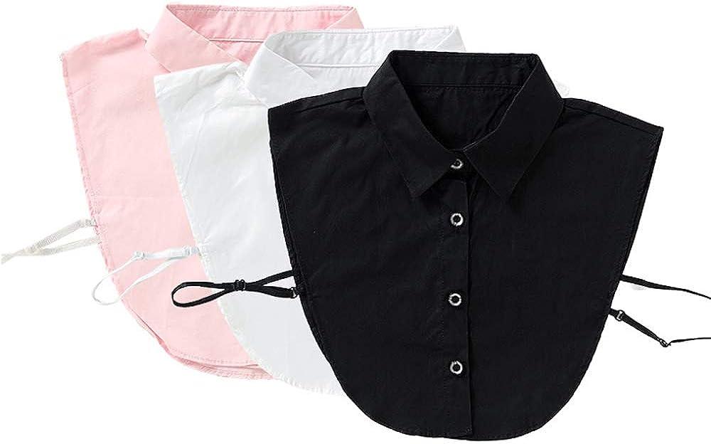 YAKEFJ - Blusa para mujer con cuello extraíble, de algodón 3 unidades Tallaúnica: Amazon.es: Ropa y accesorios