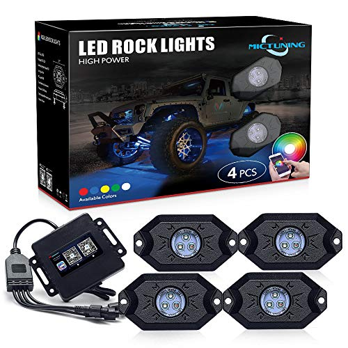 Led Truck - MICTUNING 2nd-Gen RGB LED Rock Lights with Bluetooth Controller, Timing Function, Music Mode - 4 Pods Multicolor Neon LED Light Kit