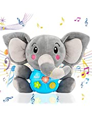 Miredo Plush Elephant Music Baby Toys 0 3 6 9 12 Months, Cute Stuffed Animal Light Up Newborn Baby Toys Musical Toys for Infant Babies Boys & Girls Toddlers 0 to 36 Months