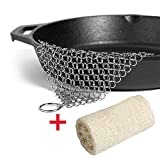 Cast Iron Cleaner with Corner Ring, Anti-Rust Stainless Steel Square 8''x6'' Chainmail Scrubber + FREE Natural Loofah Sponge Scrubbers for Kitchen, Dinnerware, Cast Iron Pan, Grill, Knife cleaning