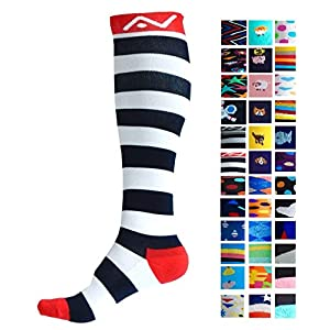 Compression Socks (1 pair) for Women & Men by A-Swift - Graduated Athletic Fit for Running, Nurses, Flight Travel, Skiing & Maternity Pregnancy - Boost Stamina & Recovery (Stripey, S/M)