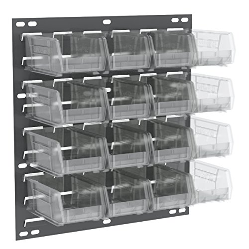 Akro-Mils 30618220SC Louvered Wall Panel with 16 AkroBins, 18'' x 19'', Gray/Clear by Akro-Mils