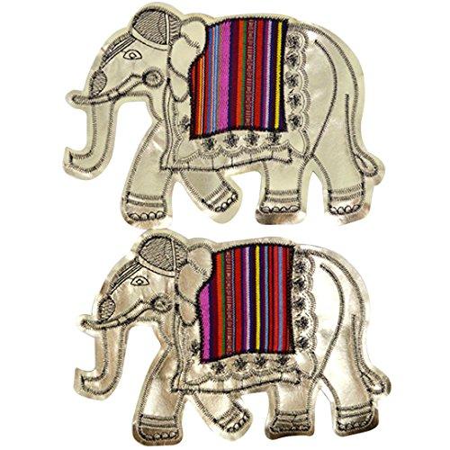 Felice 2Pcs Embroidery Thai Elephant Pattern Sew on Patches DIY Motif Applique Metallic Gold