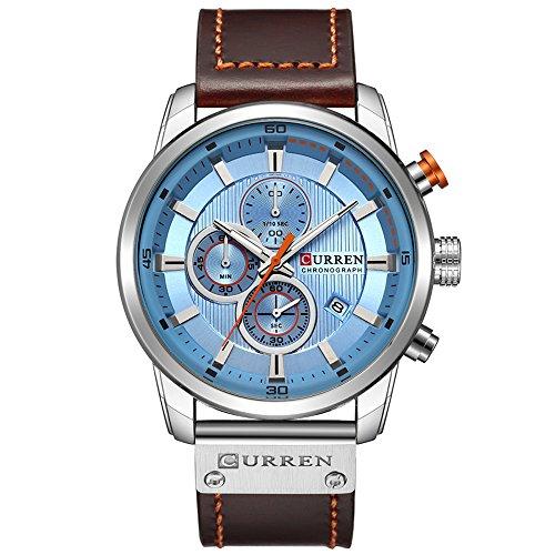 Men Leather Strap Military Watches Mens Chronograph Waterproof Sport Wrist Date Quartz Wristwatch Gifts (Silver Blue)