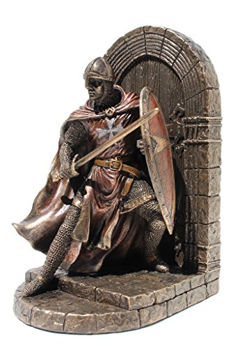 - Armored Maltese Crusader With Sword Guarding Door Single Bookend Cold Cast Bronze