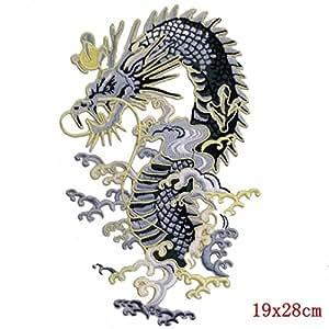Desconocido Generic 16 diseños Punk Calavera Parche Roca Grande Bordado Banda Parches para Ropa Gran Moto Espalda Parche Motero dragón Lobo: diseño M