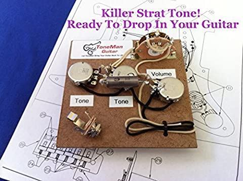 Stratocaster Fender Prewired Wiring Harness Kit - Eric Johnson Set Up Wired for Bridge Tone Control. .1uf Vintage PIO Tone - Eric Johnson Fender Strat