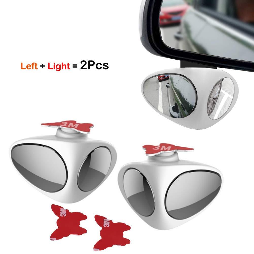 Miroir d'angle mort, Réglable Blind Spot Mirror Rotatif à 360 Miroir d'Angle Mort Adhés- pour Voiture Lot de la Conduite Accompagnée (Noir à droite) Elekmall/ Elekpopu