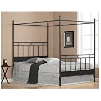 Black Metal Queen-size Canopy Bed. The Frame Has Horizontal and Vertical Bars for a Masculine Look. Guaranteed. Add Your Own Queen Mattress for Resort Like Comfort From Your Bedroom Furniture. The Sturdy Four Poster Updates with Contemporary Style.