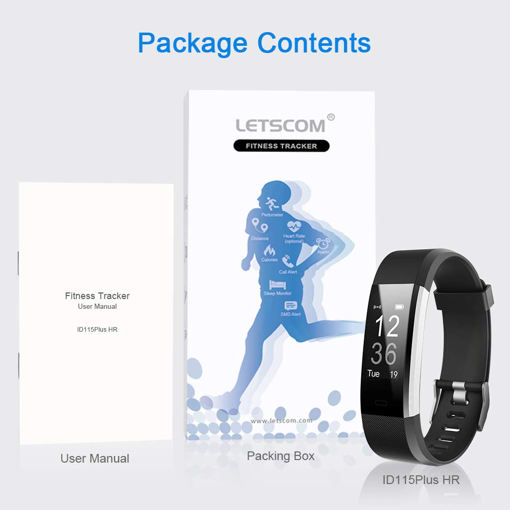 LETSCOM Fitness Tracker HR, Activity Tracker Watch with Heart Rate Monitor, Waterproof Smart Fitness Band with Step Counter, Calorie Counter, Pedometer Watch for Kids Women and Men by LETSCOM (Image #7)