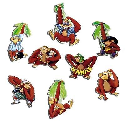Monos Imanes - Juego de 8 amüsante Monos - Frigorífico Imanes para ...