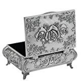 Classic Vintage Antique Tin Rectangle Jewelry Box Treasure Storage Organizer Chest with Rose Pattern
