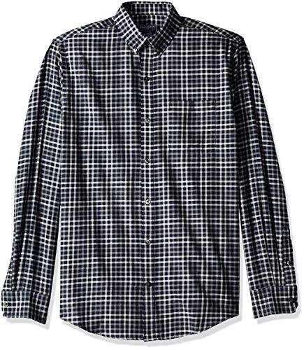 Van Heusen Men's Flex Long Sleeve Heather Mini Check Button Down Shirt, sea Navy, Large