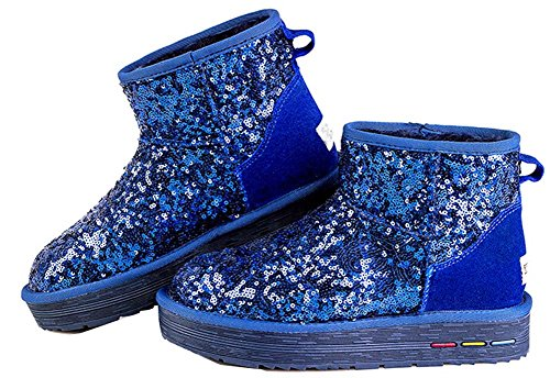Blue casual warm Fabric women's snow padded sequined new shoes cotton boots qCBTnvw