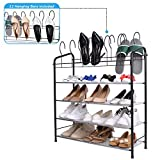 Mythinglogic Shoe Rack,4 Tier Shoes Storage Stand with 12 Hanging Bars, Shoe Organizer for Closet,Bedroom,24 Pair Shoe Tower Shelf, Black