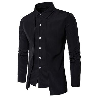 ac3b3c7c1fa Caopixx Men Casual Shirt Fake Two-Piece Shirt Long-Sleeved T-Shirt Formal