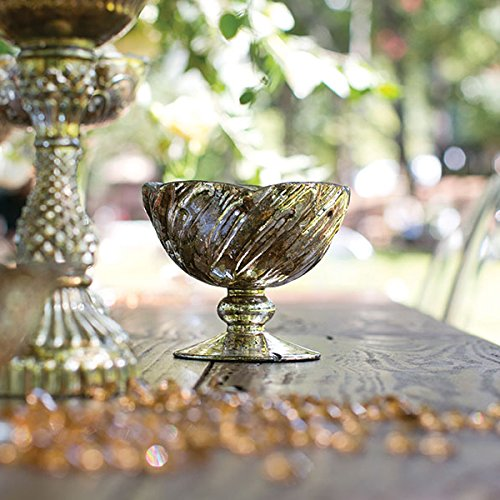 Fairytale Glass Floral Bowl in Antique Gold4.25'' Tall x 5'' Diameter by Accent Decor (ACD-)
